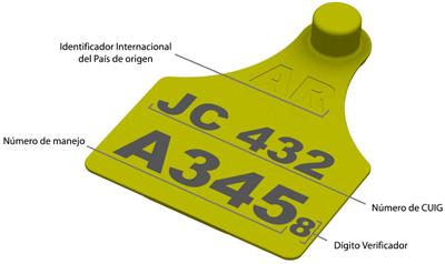 Imagen de frente de caravana amarilla. En la parte superior va el indentificador internacional del país de origen. En la parte central va el número de CUIG. En la parte inferior va el número de manejo. Y seguido a este va el dígito verificador.