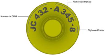 Imagen de frente de caravana botón. Van en forma circular los siguientes datos: Número de CUIG, número de manejo y digito verificador